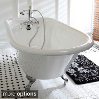 Classic Roll Top 60 Inch Cast Iron Clawfoot Tub With Tub Wall Drilling