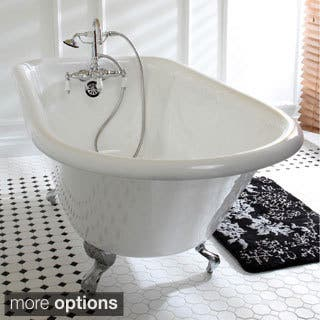 55 inch clawfoot tub. Classic Roll Top 60 Inch Cast Iron Clawfoot Tub With Wall Drilling Bathtubs For Less  Overstock