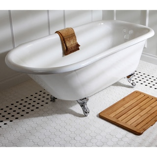 Classic Roll Top 60-inch Cast Iron Clawfoot Tub with Tub Wall Drilling