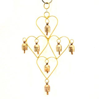 Handmade Goldtone Hearts Recycled Metal Wind Chime (India)