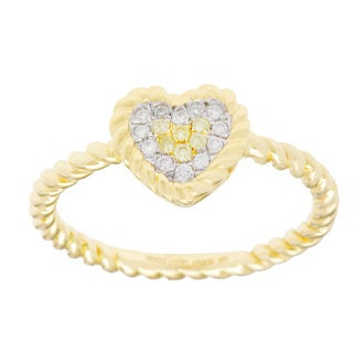 Kabella Luxe 18k Yellow Gold 1/8ct TDW Diamond Heart Rope Ring