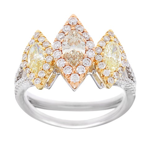 Kabella Luxe 18k Gold Marquise Brown and Yellow Diamond Halo Ring