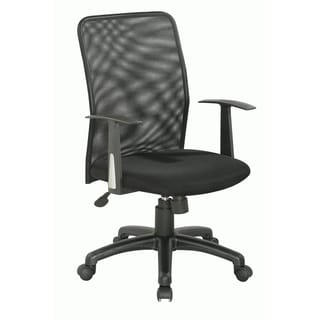 Somette Black Cloth Mesh Upholstered Back Pneumatic Gas Lift Office Chair