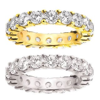 Amore 14k Gold 4ct TDW Shared Prong-set Diamond Eternity Wedding Band