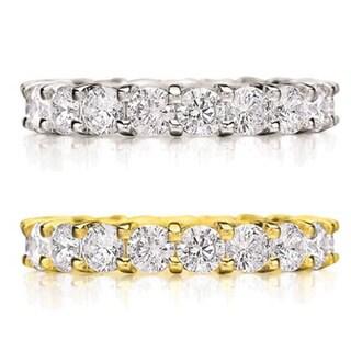 Amore 14k Gold 3ct TDW Shared Prong-set Diamond Eternity Wedding Band
