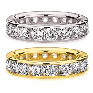 Amore 14k White or Yellow Gold 5ct TDW Channel-set Diamond Eternity Wedding Band