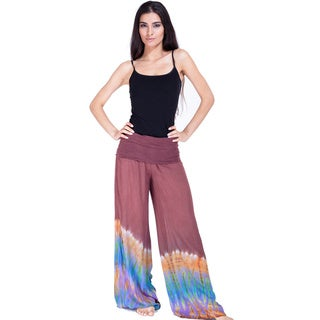 Handmade Tie-dye Women's Side-slit Pants (Nepal)