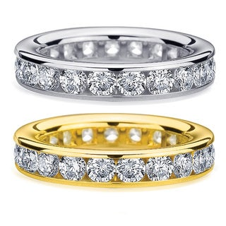 Amore 14k White or Yellow Gold 3ct TDW Channel Set Diamond Eternity Wedding Band