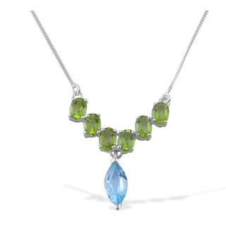Sitara Hand-crafted Sterling Silver Blue Topaz and Peridot Gemstone Necklace (India)