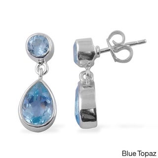 Sitara Hand-crafted Sterling Silver Gemstone Pear Dangle Earrings (India)