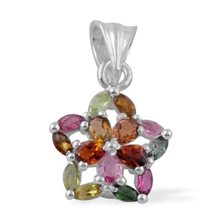 Sitara Hand-crafted Sterling Silver Multicolor Tourmaline Pendant (India)