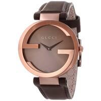 Gucci Women's  Interlocking Brown Strap Watch
