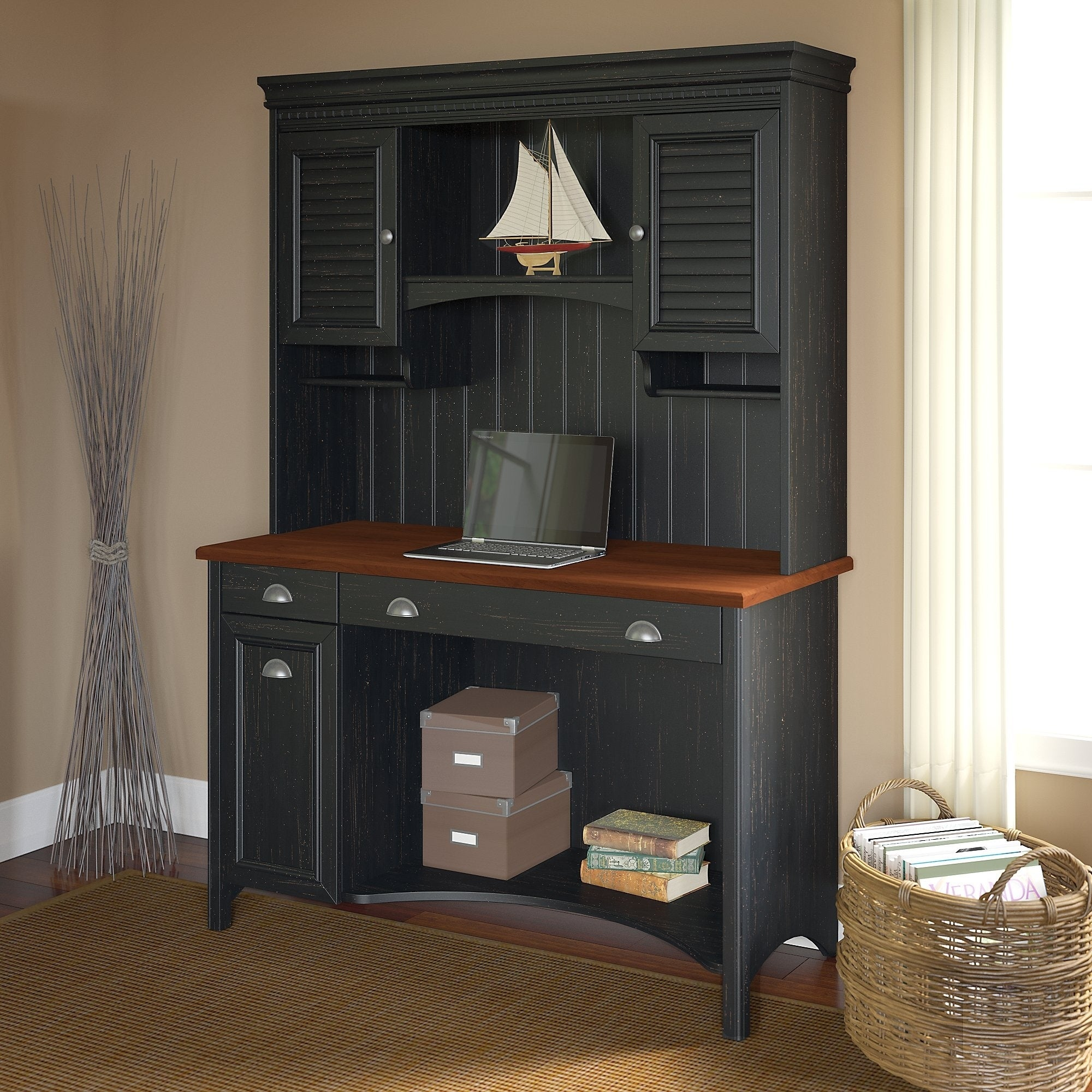 Shop Black Friday Deals On Copper Grove Samtredia Computer Desk With Hutch In Antique Black Overstock 8935629