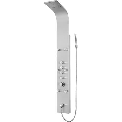 Blue Ocean 64.5-inch Stainless Steel Thermostatic Shower Panel w/ Rainfall, Waterfall Shower, Body Nozzles, and Handheld Shower