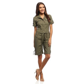 Live A Little Women's Kelp Green Belted Romper (5 options available)