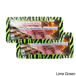 Zebra/ Tiger Striped Plastic Auto License Plate Frames for Front and Rear (Set of 2)