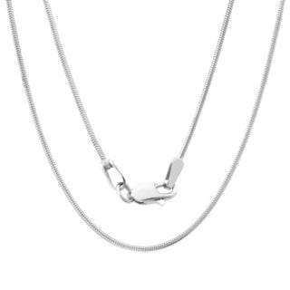 Sterling Essentials 14k White Gold Diamond-cut Snake Chain Necklace