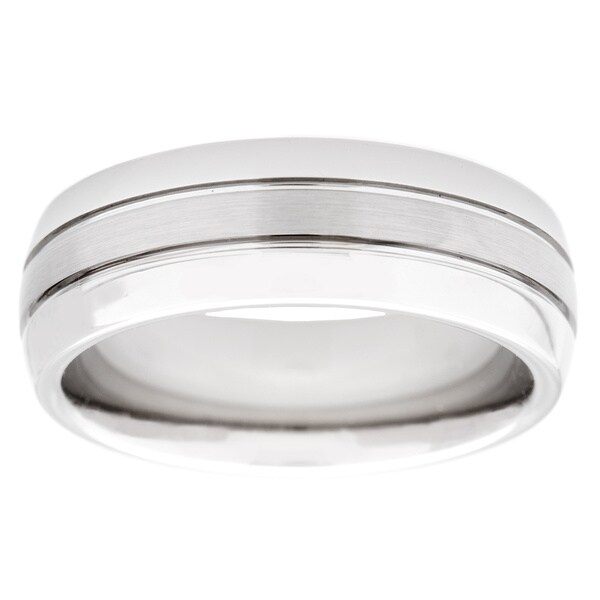 Cambridge White Tungsten Carbide 8mm 3-row Comfort Fit Wedding Band