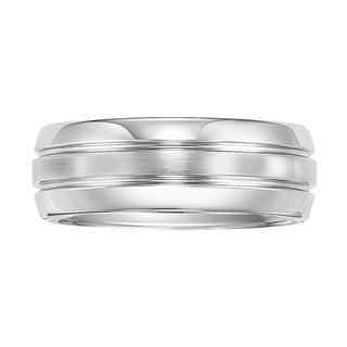 Cambridge White Tungsten Carbide 8mm 3-row Comfort Fit Wedding Band