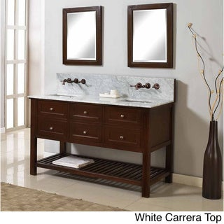 Direct Vanity Sink 60-inch Mission Spa Premium Dark Brown Double Vanity Sink Cabinet