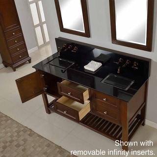 Direct Vanity 60-inch Mission Spa Premium Dark Brown Double Vanity Sink Cabinet
