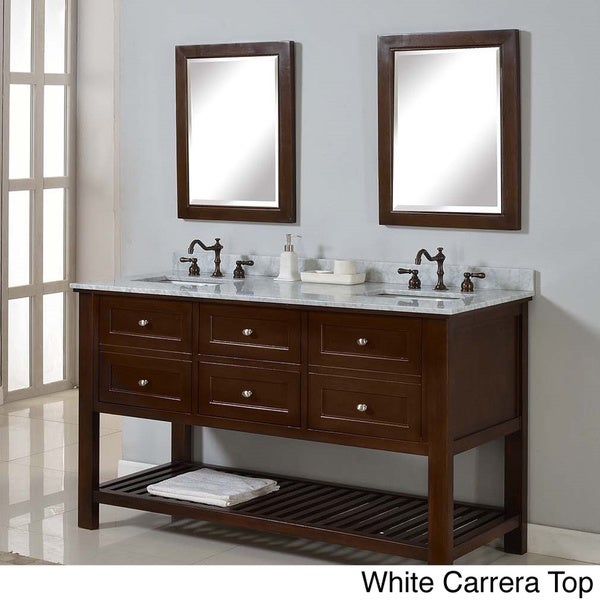 Direct Vanity 60 Inch Mission Spa Dark Brown Double Vanity Sink Cabinet