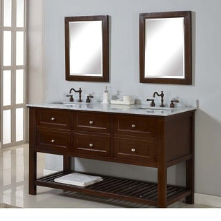 Direct Vanity 60-inch Mission Spa Dark Brown Double Vanity Sink Cabinet