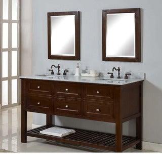 Direct Vanity 60-inch Mission Spa Dark Brown Double Vanity Sink Cabinet