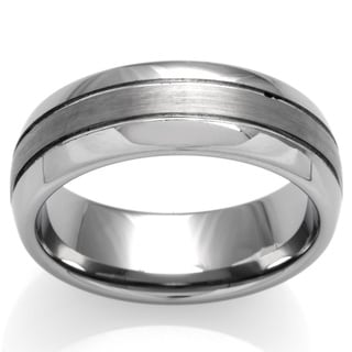 cambridge tungsten carbide 3 row 8mm comfort fit wedding band - Tungsten Mens Wedding Rings