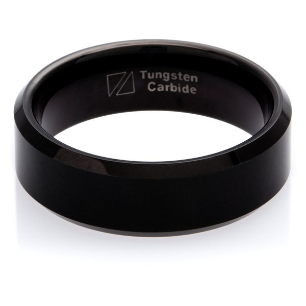 Cambridge Black Tungsten Carbide Beveled Edge 8mm Comfort Fit Wedding Band