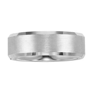Cambridge White Tungsten Carbide Beveled Edge 8mm Comfort-fit Wedding Band