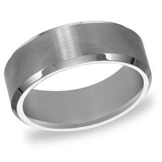 Cambridge Men's Tungsten Carbide Beveled Comfort Fit Wedding Band (8 mm) - Silver