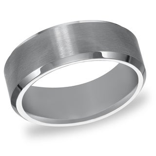 Cambridge Men's Tungsten Carbide Beveled Comfort Fit Wedding Band (8 mm)