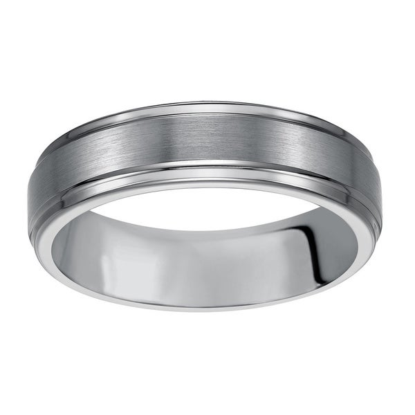 Cambridge Men's Classic Tungsten Carbide 6mm Comfort-fit Wedding Band - White