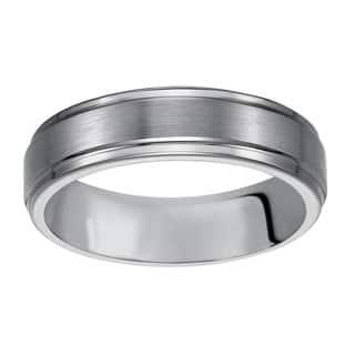 Cambridge Men's Classic Tungsten Carbide 6mm Comfort-fit Wedding Band - White