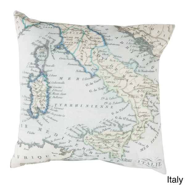 France or Italy Map Indoor/Outdoor Decorative Throw Pillow