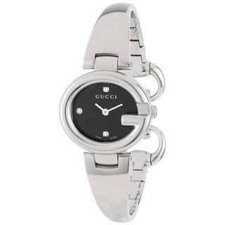 Gucci Women's YA134505 'Guccisima' Black Diamond Dial Stainless Steel Quartz Watch