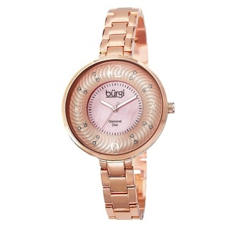 Burgi Women's Mother of Pearl Diamond-Accented Brass Chain Rose-Tone Watch