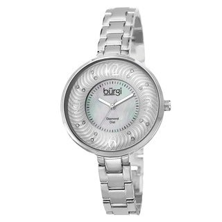 Burgi Women's Mother of Pearl Diamond-Accented Brass Chain Silver-Tone Watch