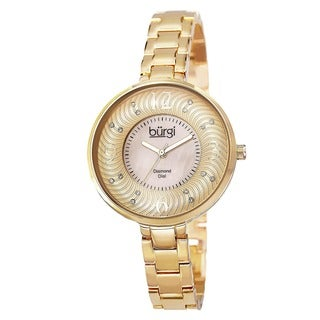Burgi Women's Mother of Pearl Diamond-Accented Brass Chain Gold-Tone Watch