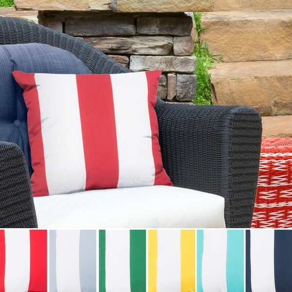 Big Sea Stripes Outdoor Safe Decorative Throw Pillow. Opens flyout.