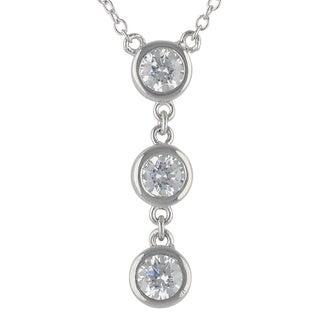 Sunstone Sterling Silver 3-stone SWAROVSKI ZIRCONIA Necklace with Gift Box