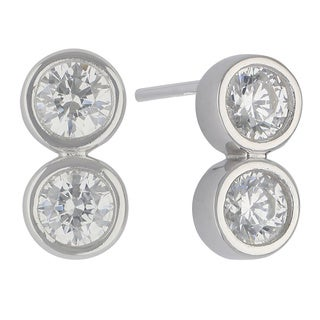 Sunstone Sterling Silver SWAROVSKI ZIRCONIA 2-stone Round Stud Earrings with Gift Box