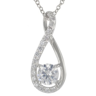 Sunstone Sterling Silver SWAROVSKI ZIRCONIA Teardrop Twist Necklace with Gift Box
