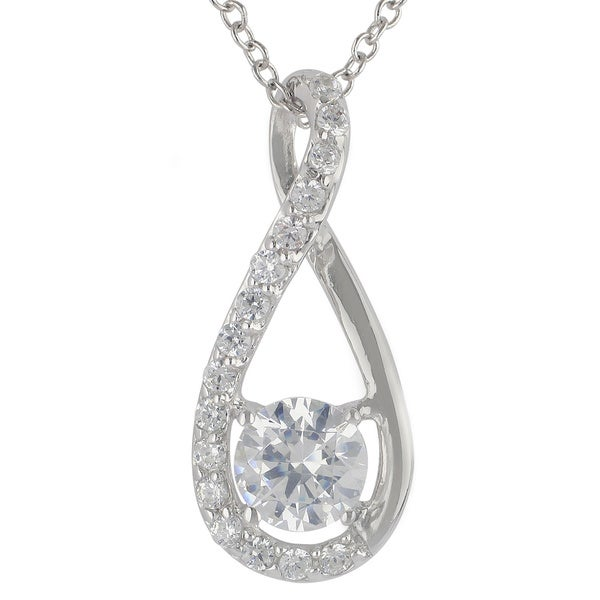 a10c710a1 Sunstone Sterling Silver SWAROVSKI ZIRCONIA Teardrop Twist Necklace with  Gift Box
