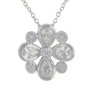 Sunstone Sterling Silver SWAROVSKI ZIRCONIA Flower Necklace with Gift Box