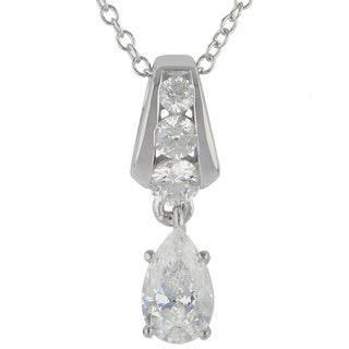 Sunstone Sterling Silver SWAROVSKI ZIRCONIA Teardrop Necklace with Gift Box