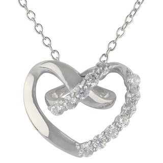 Sunstone Sterling Silver SWAROVSKI ZIRCONIA Open Heart Necklace with Gift Box