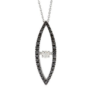 Beverly Hills Charm 10k White Gold 1/4ct TDW Black and White PULSE Diamond Necklace