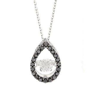 Beverly Hills Charm 'Rhythm Dancing Stone' 10k White Gold 1/3ct TDW Black and White Diamond Necklace (H-I, SI2-I1)
